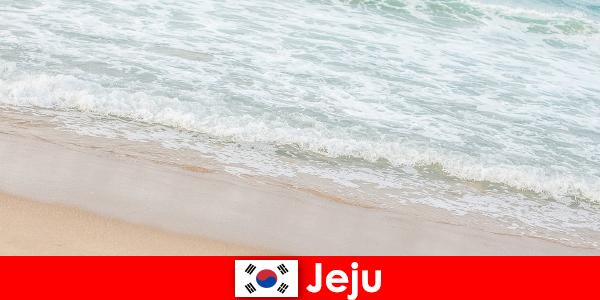 Jeju, met zijn fijne zand en helder water, is een ideale plek voor een familievakantie aan het strand